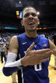 Austin Rivers of the Duke Blue Devils celebrates after hitting a gamewinning 3 pointer to defeat the North Carolina Tar Heels 8584 during their game...