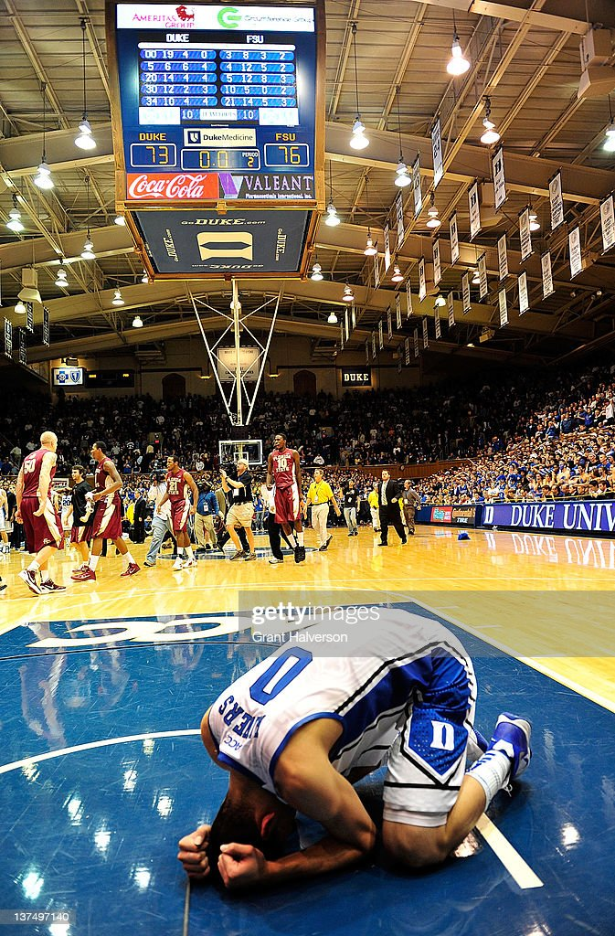 <a gi-track='captionPersonalityLinkClicked' href=/galleries/search?phrase=Austin+Rivers&family=editorial&specificpeople=7117574 ng-click='$event.stopPropagation()'>Austin Rivers</a> #0 of the Duke Blue Devils reacts after a loss to the Florida State Seminoles at the buzzer at Cameron Indoor Stadium on January 21, 2012 in Durham, North Carolina. Florida State won 76-73 to end Duke's 44-game home winning streak.
