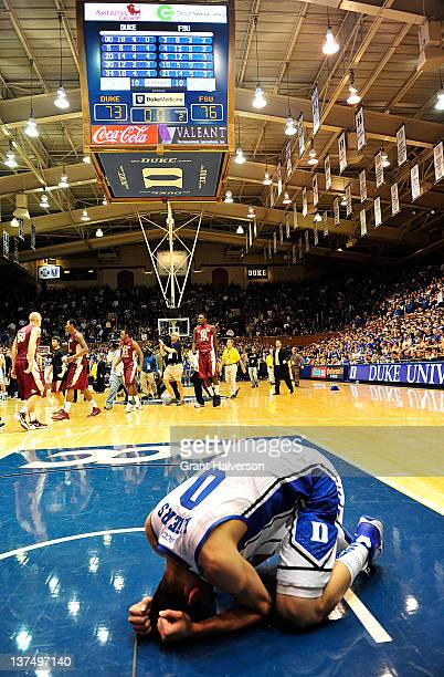 Austin Rivers of the Duke Blue Devils reacts after a loss to the Florida State Seminoles at the buzzer at Cameron Indoor Stadium on January 21 2012...