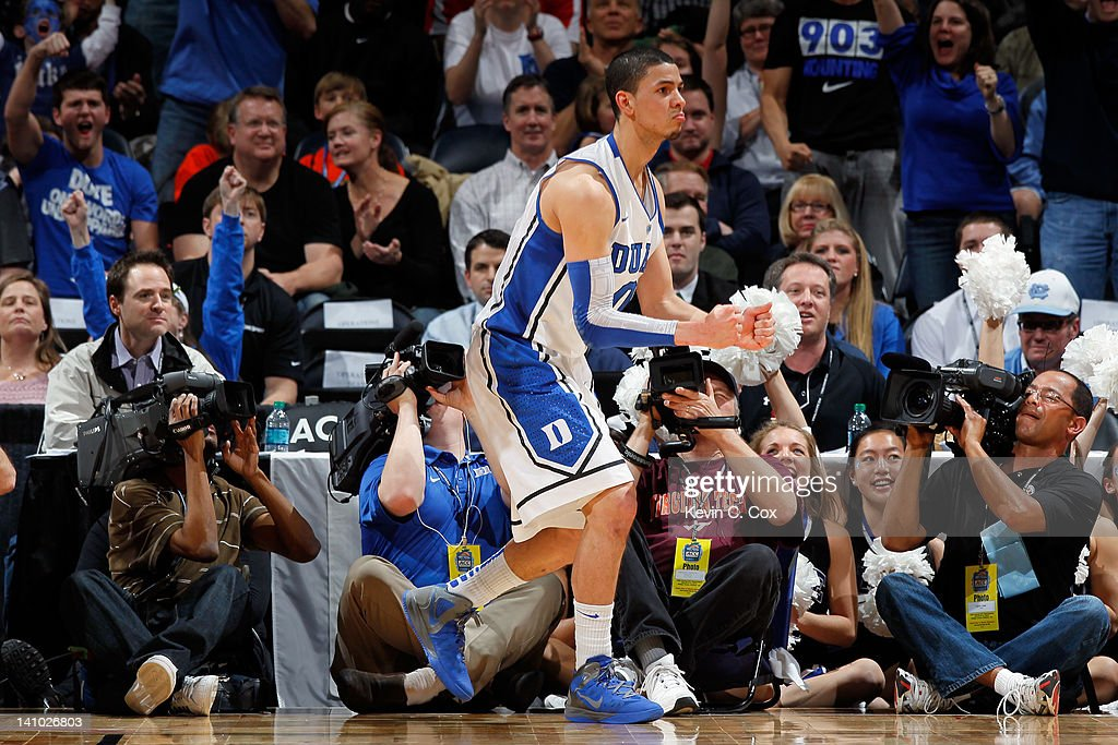 Austin Rivers of the Duke Blue Devils reacts against the Virginia Tech Hokies in their Quarterfinal game of the 2012 ACC Men's Basketball Conferene...