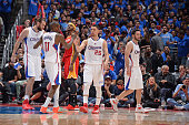 Austin Rivers of the Los Angeles Clippers celebrates with his teammates in Game Three of the Western Conference Semifinals against the Houston...