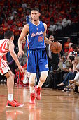 Austin Rivers of the Los Angeles Clippers dribbles against the Houston Rockets in Game Seven of the Western Conference Semifinals during the 2015 NBA...