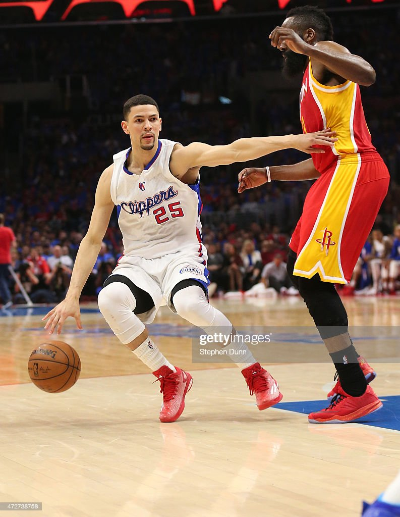 Austin Rivers of the Los Angeles Clippers drives against James Harden of the Houston Rockets during Game Three of the Western Conference semifinals...