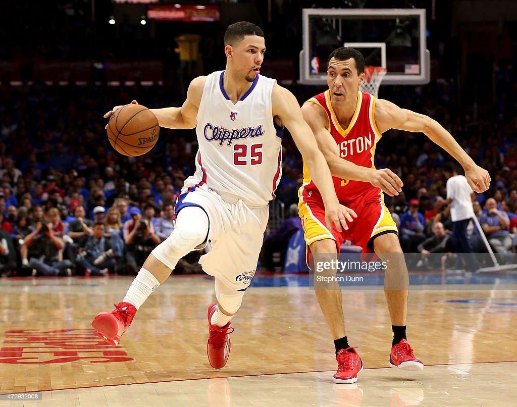 Austin Rivers of the Los Angeles Clippers drives against Pablo Prigioni of the Houston Rockets during Game Four of the Western Conference semifinals...