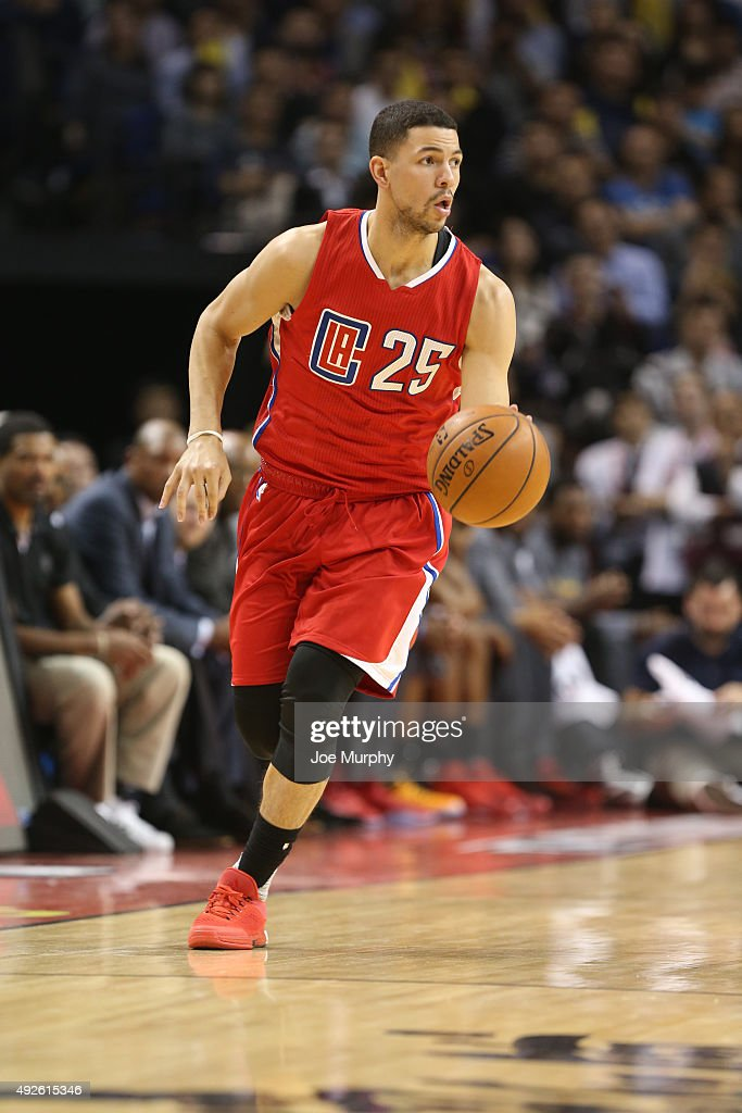 Austin Rivers of the Los Angeles Clippers drives against the Charlotte Hornets as part of the 2015 NBA Global Games China at the MercedesBenz Arena...
