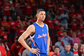 Austin Rivers of the Los Angeles Clippers looks on against the Houston Rockets at the Toyota Center During Game Two of the Western Conference...