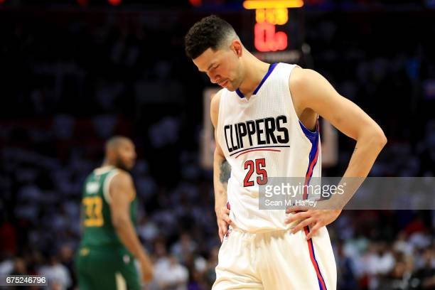 Austin Rivers of the Los Angeles Clippers looks on during the second half of Game Seven of the Western Conference Quarterfinals against the Utah Jazz...