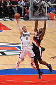 Austin Rivers of the Los Angeles Clippers shoots the ball against the Portland Trail Blazers during a preseason game on October 22 2015 at STAPLES...