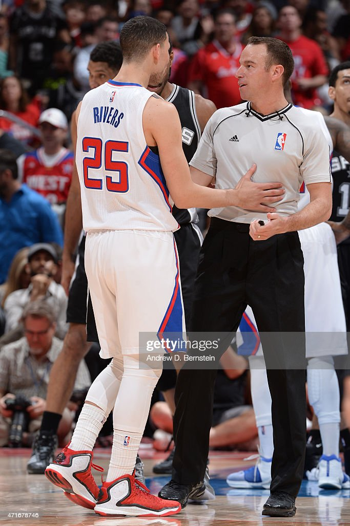 Austin Rivers of the Los Angeles Clippers speaks to NBA Referee Scott Foster during a game against the San Antonio Spurs in Game Five of the Western...