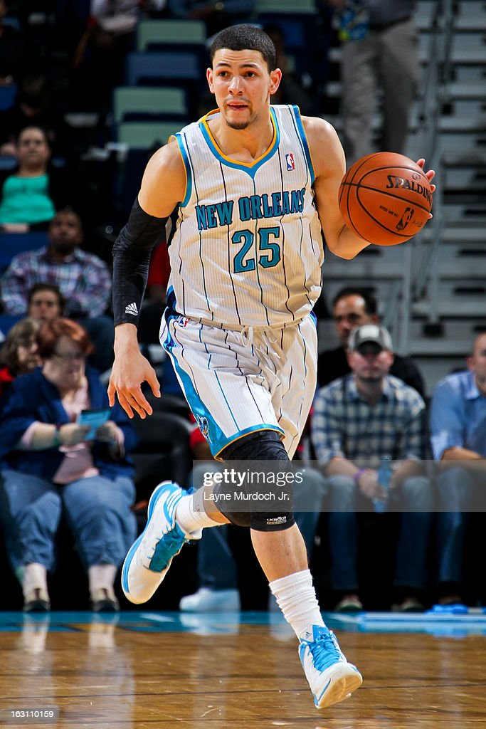 Austin Rivers #25 of the New Orleans Hornets advances the ball against the Orlando Magic on March 4, 2013 at the New Orleans Arena in New Orleans, Louisiana.