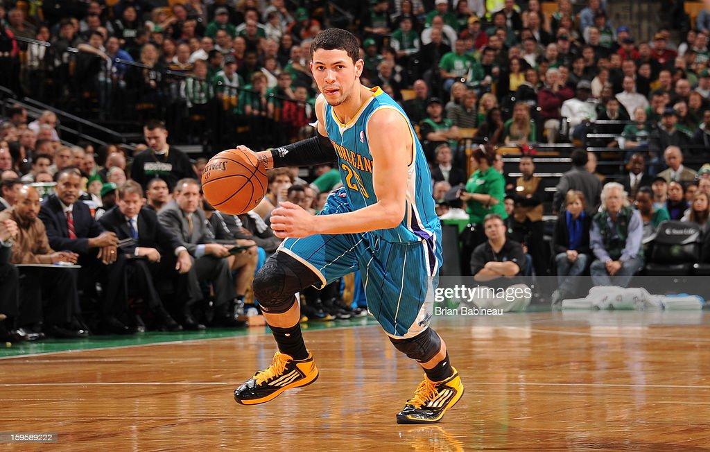 Austin Rivers #25 of the New Orleans Hornets drives the ball against the Boston Celtics on January 16, 2013 at the TD Garden in Boston, Massachusetts.