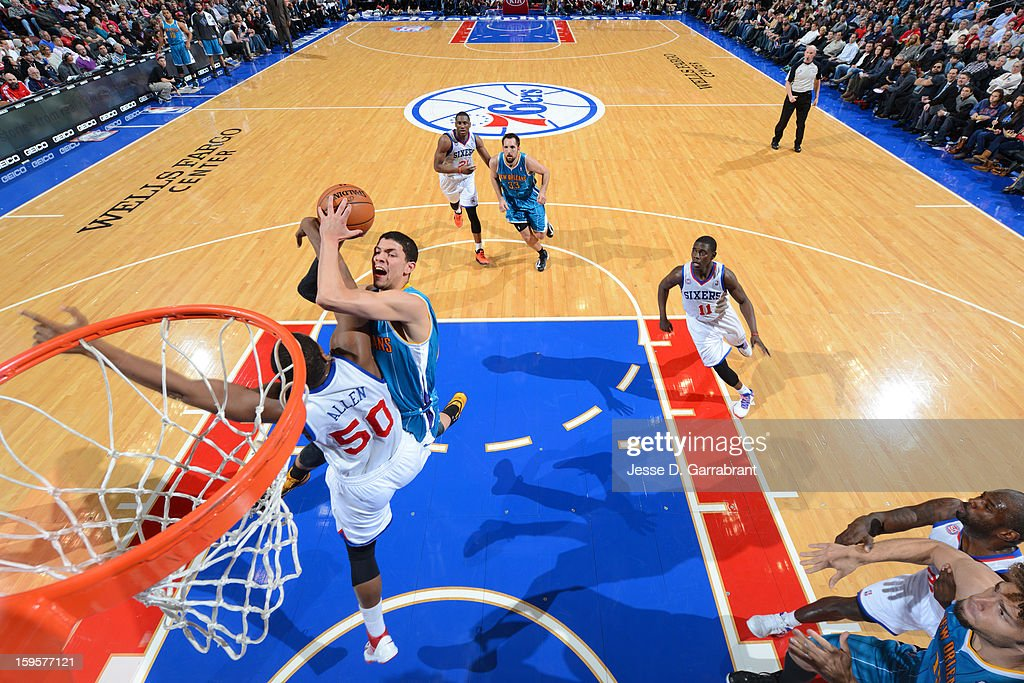 Austin Rivers #25 of the New Orleans Hornets drives to the basket against the Philadelphia 76ers at the Wells Fargo Center on January 15, 2013 in Philadelphia, Pennsylvania.