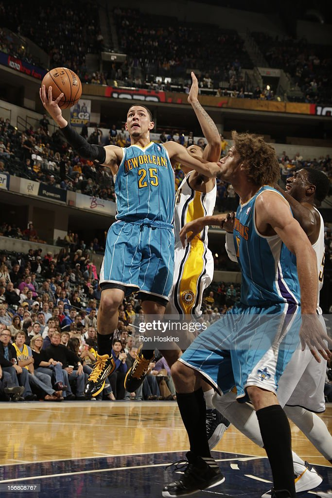 Austin Rivers #25 of the New Orleans Hornets goes in for a layup vs the Indiana Pacers on November 21, 2012 at Bankers Life Fieldhouse in Indianapolis, Indiana.