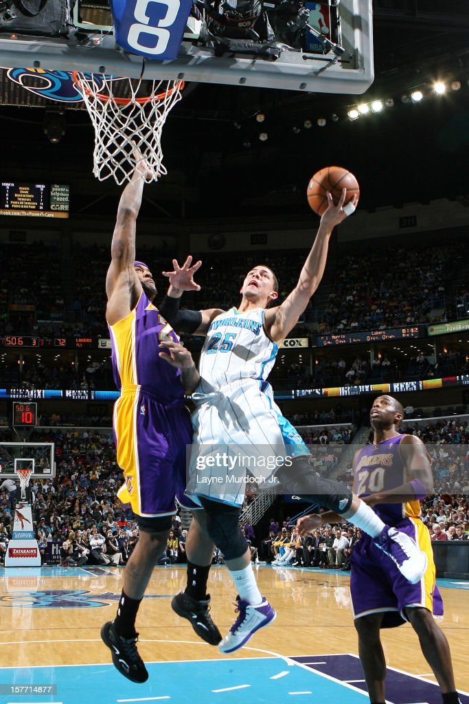 <a gi-track='captionPersonalityLinkClicked' href=/galleries/search?phrase=Austin+Rivers&family=editorial&specificpeople=7117574 ng-click='$event.stopPropagation()'>Austin Rivers</a> #25 of the New Orleans Hornets goes to the basket during the game between the New Orleans Hornets and the Los Angeles Lakers on December 5, 2012 at the New Orleans Arena in New Orleans, Louisiana.
