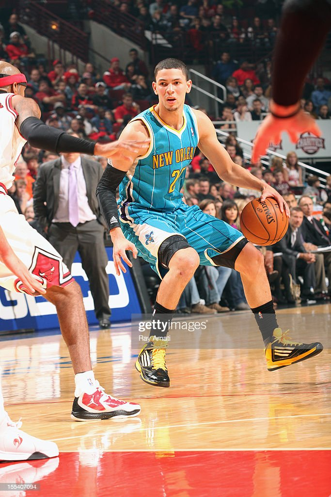 <a gi-track='captionPersonalityLinkClicked' href=/galleries/search?phrase=Austin+Rivers&family=editorial&specificpeople=7117574 ng-click='$event.stopPropagation()'>Austin Rivers</a> #25 of the New Orleans Hornets handles the ball against the Chicago Bulls on November 3, 2012 at the United Center in Chicago, Illinois.