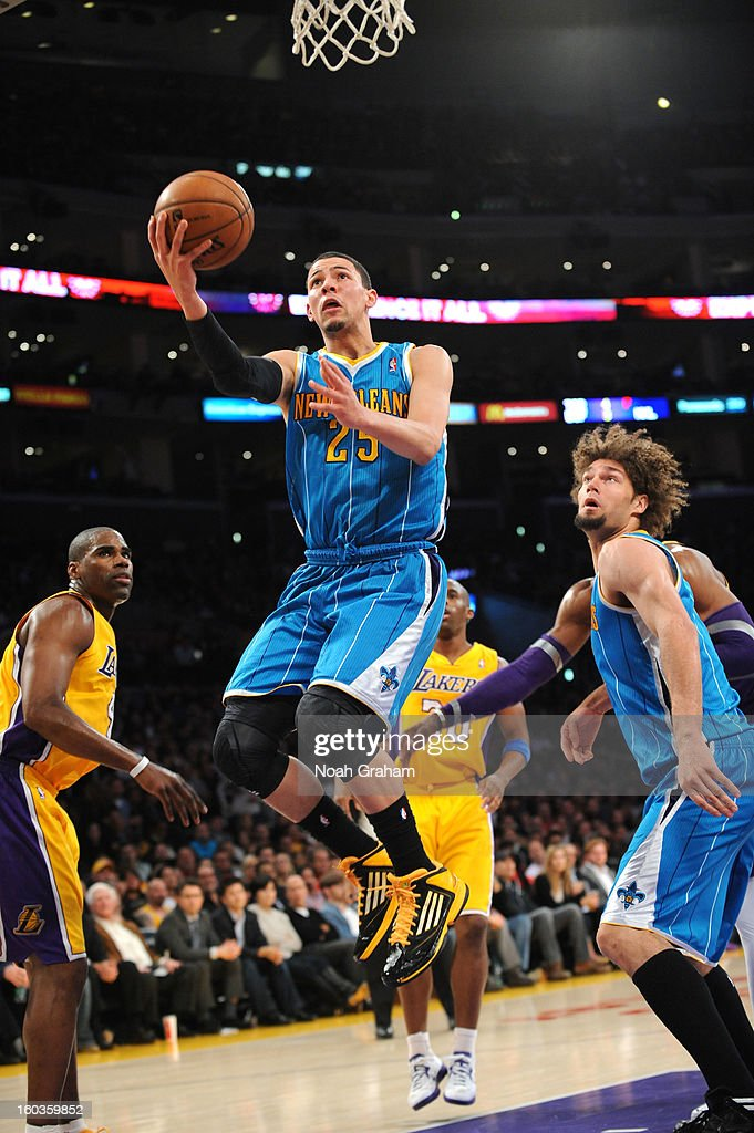Austin Rivers #25 of the New Orleans Hornets puts up a shot against the Los Angeles Lakers at Staples Center on January 29, 2013 in Los Angeles, California.