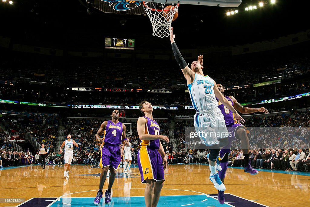 Austin Rivers #25 of the New Orleans Hornets shoots a layup against the Los Angeles Lakers on March 6, 2013 at the New Orleans Arena in New Orleans, Louisiana.