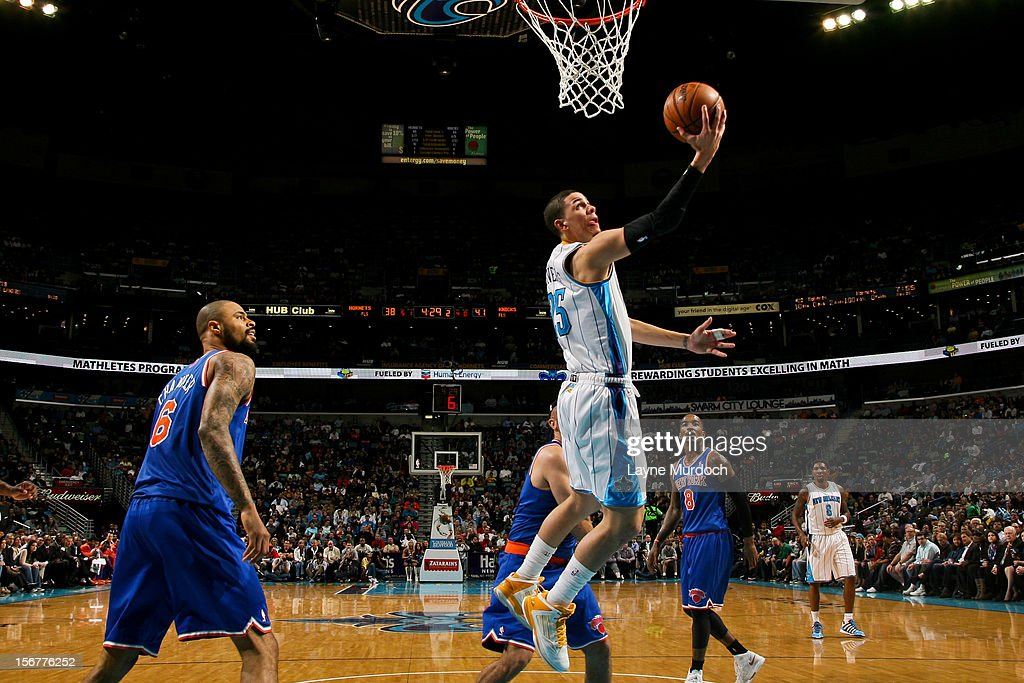 <a gi-track='captionPersonalityLinkClicked' href=/galleries/search?phrase=Austin+Rivers&family=editorial&specificpeople=7117574 ng-click='$event.stopPropagation()'>Austin Rivers</a> #25 of the New Orleans Hornets shoots a reverse layup against the New York Knicks on November 20, 2012 at the New Orleans Arena in New Orleans, Louisiana.