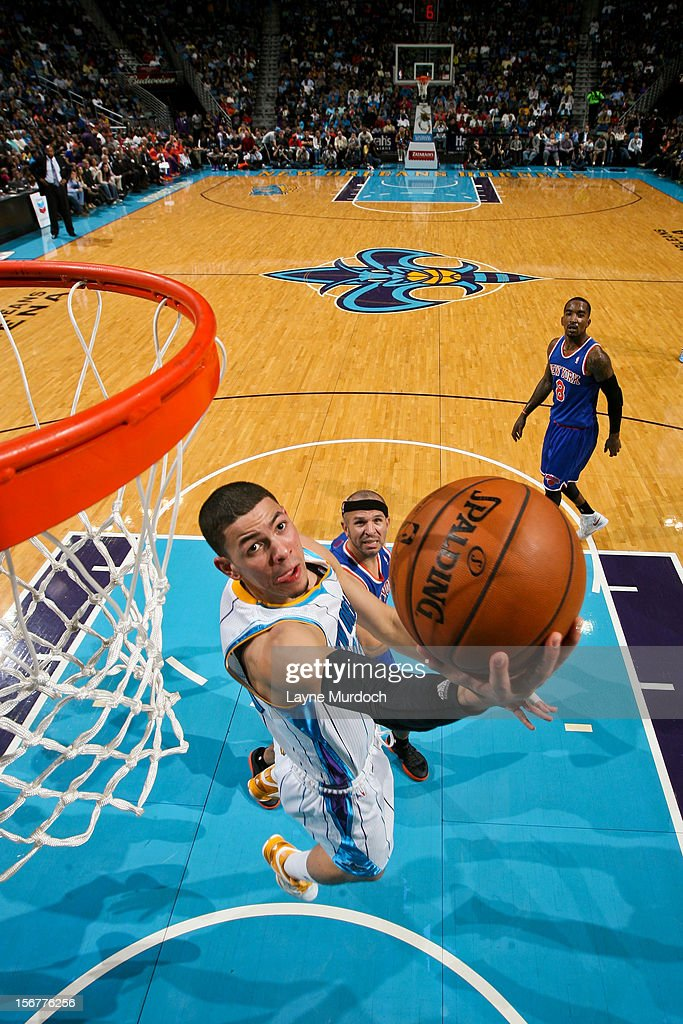 Austin Rivers #25 of the New Orleans Hornets shoots a reverse layup against the New York Knicks on November 20, 2012 at the New Orleans Arena in New Orleans, Louisiana.