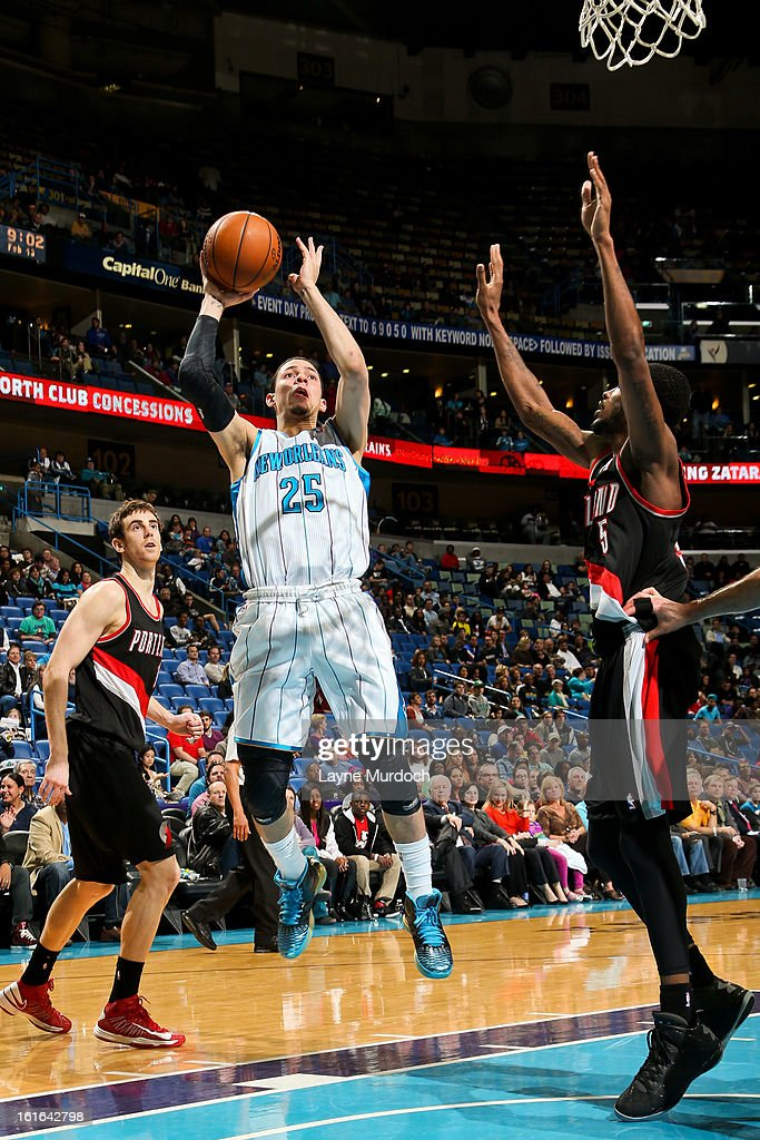 <a gi-track='captionPersonalityLinkClicked' href=/galleries/search?phrase=Austin+Rivers&family=editorial&specificpeople=7117574 ng-click='$event.stopPropagation()'>Austin Rivers</a> #25 of the New Orleans Hornets shoots in the lane against the Portland Trail Blazers on February 13, 2013 at the New Orleans Arena in New Orleans, Louisiana.
