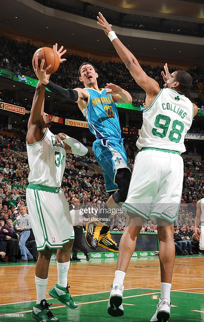 Austin Rivers #25 of the New Orleans Hornets shoots the ball against the Boston Celtics on January 16, 2013 at the TD Garden in Boston, Massachusetts.