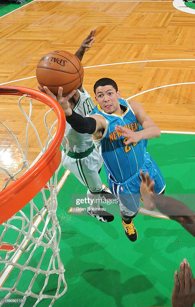 <a gi-track='captionPersonalityLinkClicked' href=/galleries/search?phrase=Austin+Rivers&family=editorial&specificpeople=7117574 ng-click='$event.stopPropagation()'>Austin Rivers</a> #25 of the New Orleans Hornets shoots the ball against the Boston Celtics on January 16, 2013 at the TD Garden in Boston, Massachusetts.