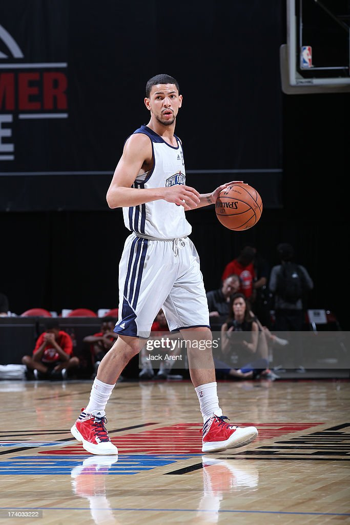 Austin Rivers #25 of the New Orleans Pelicans dribbles the ball versus the Washington Wizards during NBA Summer League on July 19, 2013 at the Thomas and Mack Center Center in Las Vegas, Nevada.