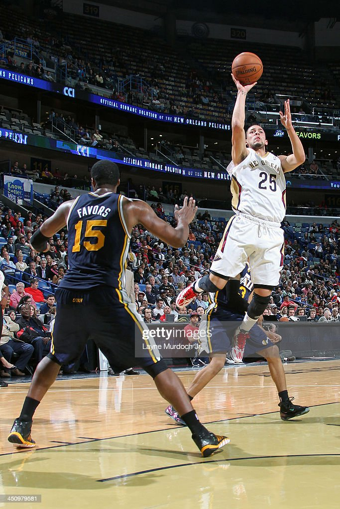 <a gi-track='captionPersonalityLinkClicked' href=/galleries/search?phrase=Austin+Rivers&family=editorial&specificpeople=7117574 ng-click='$event.stopPropagation()'>Austin Rivers</a> #25 of the New Orleans Pelicans shoots against the Utah Jazz on November 20, 2013 at the New Orleans Arena in New Orleans, Louisiana.