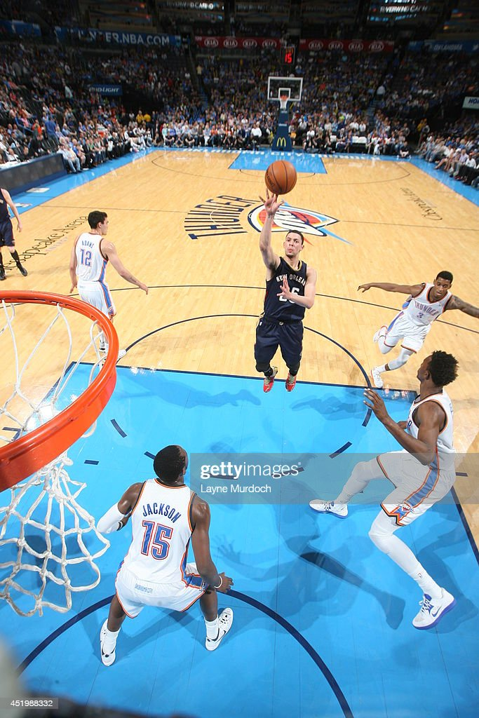 <a gi-track='captionPersonalityLinkClicked' href=/galleries/search?phrase=Austin+Rivers&family=editorial&specificpeople=7117574 ng-click='$event.stopPropagation()'>Austin Rivers</a> #25 of the New Orleans Pelicans takes a shot against the Oklahoma City Thunder on April 11, 2014 at the Chesapeake Energy Arena in Oklahoma City, Oklahoma.