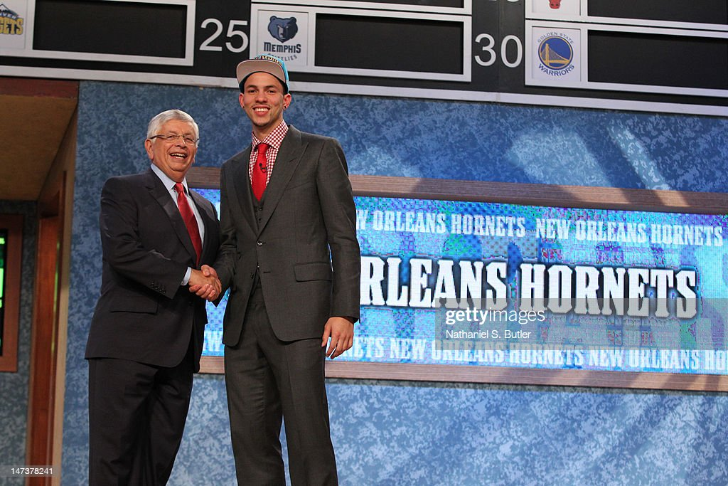 Austin Rivers shakes hands with NBA Commissioner David Stern after being selected number ten overall by the New Orleans Hornets during the 2012 NBA...