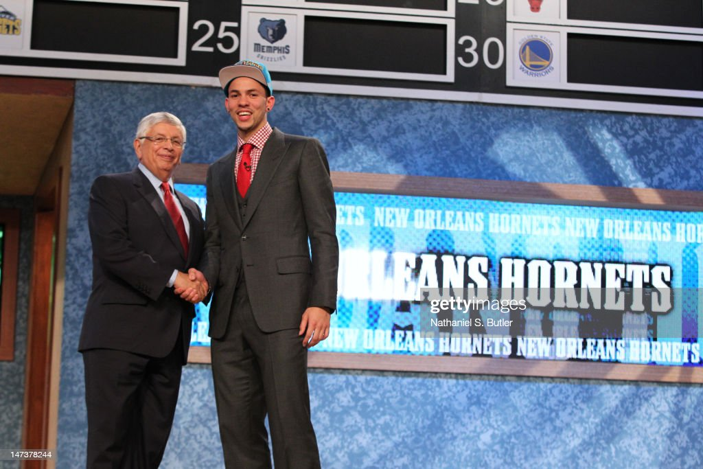 Austin Rivers shakes hands with NBA Commissioner David Stern after being selected number ten overall by the New Orleans Hornets during during the...