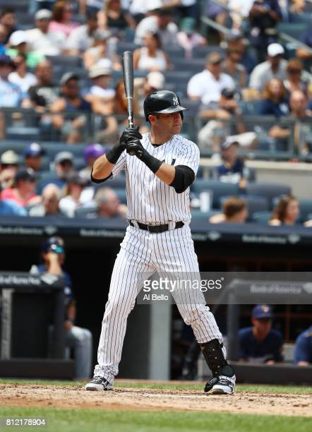 Austin Romine of the New York Yankees bats against the Milwaukee Brewers during their game at Yankee Stadium on July 8 2017 in the Bronx borough of...
