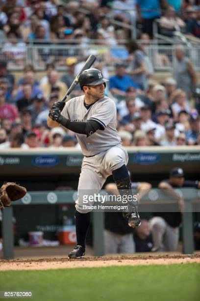 Austin Romine of the New York Yankees bats against the Minnesota Twins on July 17 2017 at Target Field in Minneapolis Minnesota The Twins defeated...