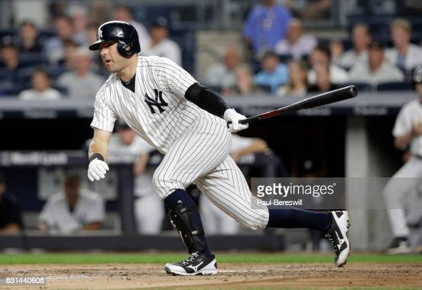 Austin Romine of the New York Yankees bats in an MLB baseball game against the Boston Red Sox on August 11 2017 at Yankee Stadium in the Bronx...