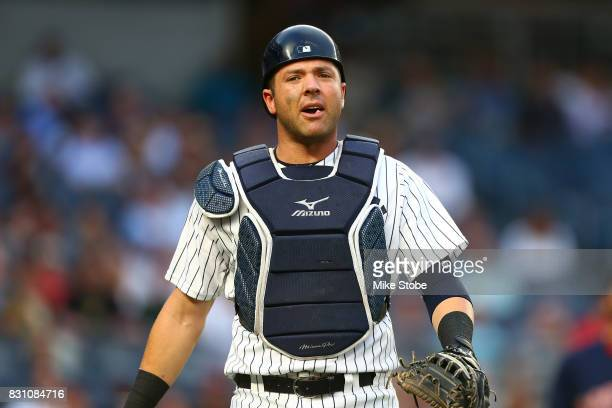 Austin Romine of the New York Yankees in action against the Boston Red Sox at Yankee Stadium on August 11 2017 in the Bronx borough of New York City...