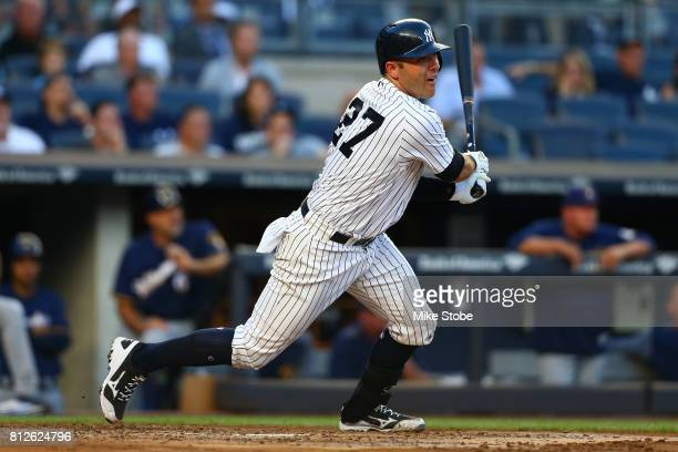 Austin Romine of the New York Yankees in action against the Milwaukee Brewers at Yankee Stadium on July 7 2017 in the Bronx borough of New York City...