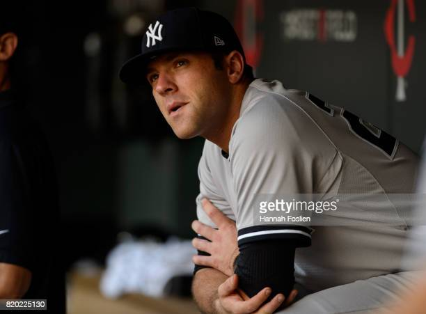 Austin Romine of the New York Yankees looks on before the game against the Minnesota Twins on July 18 2017 at Target Field in Minneapolis Minnesota...
