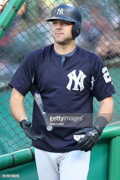 Austin Romine of the New York Yankees takes batting practice before the game against the Seattle Mariners at Safeco Field on July 20 2017 in Seattle...