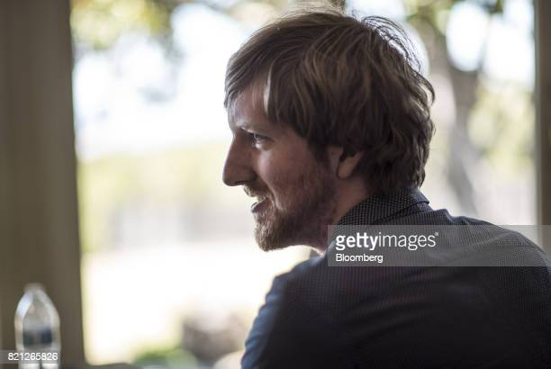 Austin Russell founder and chief executive officer of Luminar Technologies Inc speaks during an interview at the company's headquarters in Portola...