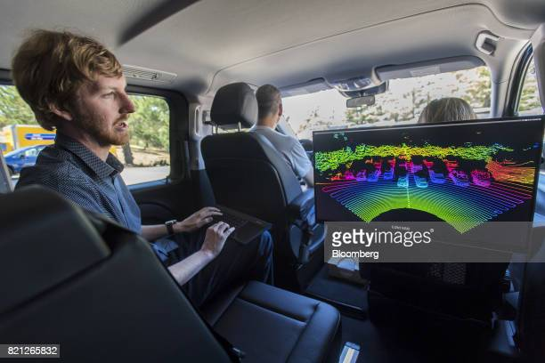 Austin Russell founder and chief executive officer of Luminar Technologies Inc demonstrates imaging created by a lidar as he speaks during an...