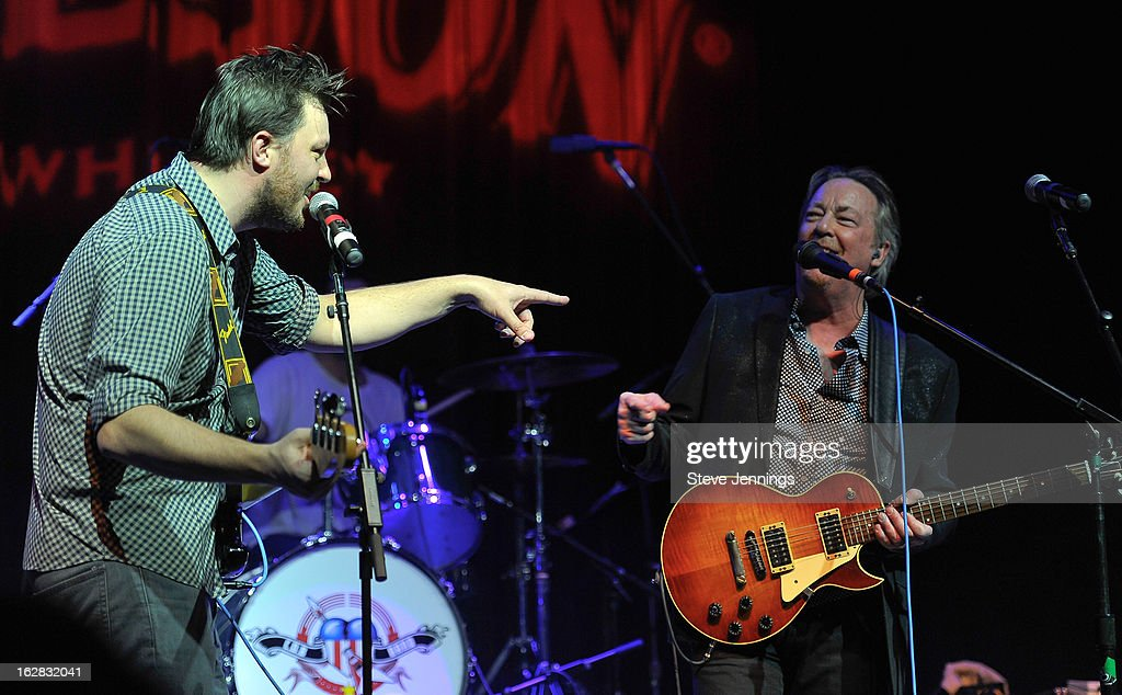Austin Scaggs and <a gi-track='captionPersonalityLinkClicked' href=/galleries/search?phrase=Boz+Scaggs&family=editorial&specificpeople=1126013 ng-click='$event.stopPropagation()'>Boz Scaggs</a> (L-R) perform on stage as Jameson Best Fest launches Petty Fest at The Fillmore on February 27, 2013 in San Francisco, California.