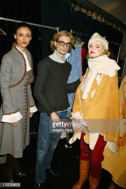 Austin Scarlett designer and finalist in the 'Project Runway' reality show on Bravo with models backstage wearing his designs