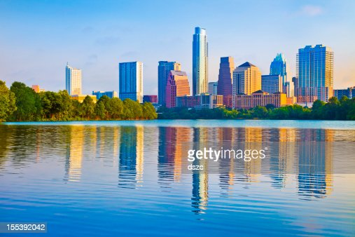 Austin skyline at sunrise reflected in Ladybird Lake