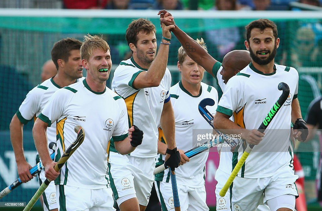 Austin Smith of South Africa celebrates after scoring a goal during the men's preliminaries match between Wales and South Africa at the Glasgow National Hockey Centre during day six of the Glasgow 2014 Commonwealth Games on July 29, 2014 in Glasgow, United Kingdom.
