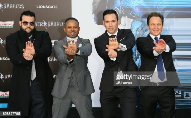 Austin St John Walter Jones Jason David Frank and David Yost attend the premiere of Lionsgate's 'Power Rangers' on March 22 2017 in Westwood...