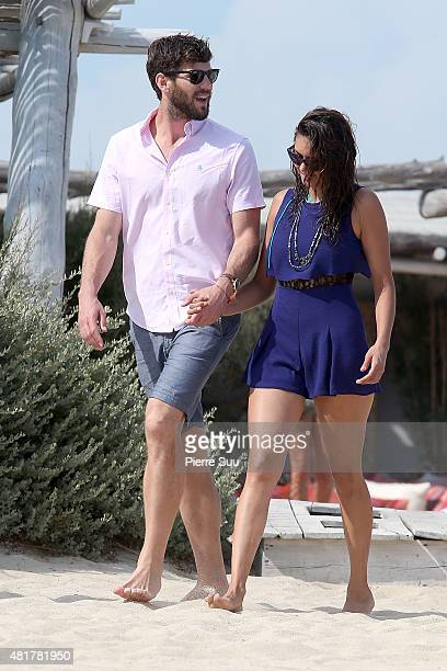 Austin Stowell and Nina Dobrev arrive at club 55 on July 24 2015 in SaintTropez France