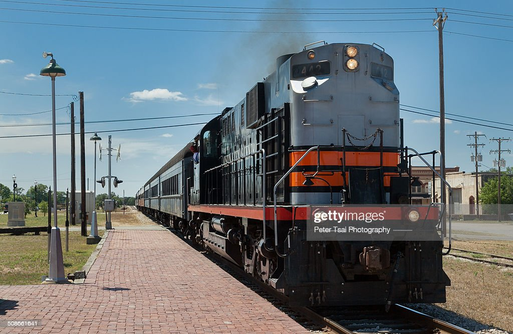 Austin Stream Train at the Bertram, Texas station, pulled by an Alcoa diesel locomotive