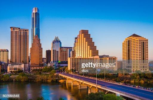 Austin Texas cityscape skyline, Congress Avenue Bridge, skyscrapers, late afternoon