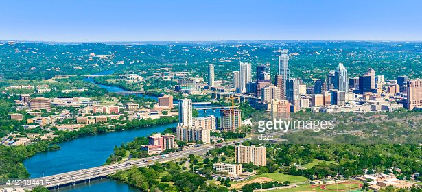 Austin Texas downtown panoramic cityscape skyline aerial view