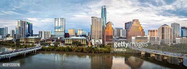 Austin Texas Downtown Skyscrapers Skyline Panorama Cityscape at Sunset